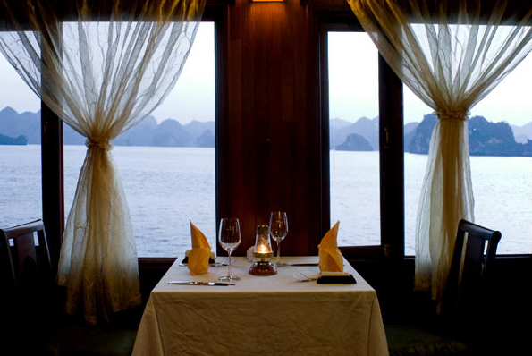 A dinning table on Indochina Sail Cruise