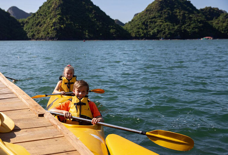 Children Kayaking Halong Bay